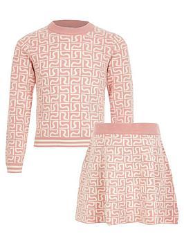 river-island-girls-knitted-monogram-jumper-and-skirt-set--pink
