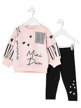 river-island-mini-mini-girls-printed-sweatshirt-and-legging-set-pinkblack