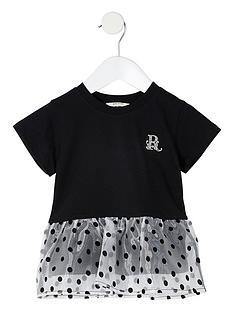 river-island-mini-mini-girls-organza-pemlum-hem-tshirt-black