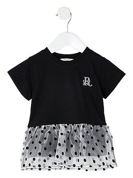 river-island-mini-mini-girls-organza-pemlum-hem-tshirt-black
