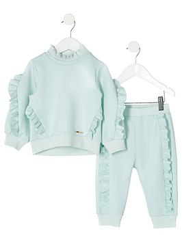 river-island-mini-mini-girls-scuba-sweat-and-jogpant-set-mint