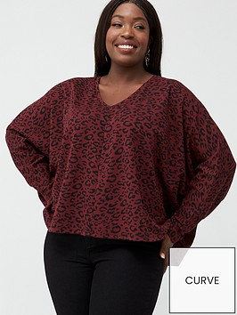 v-by-very-curve-v-neck-animal-top-burgundy