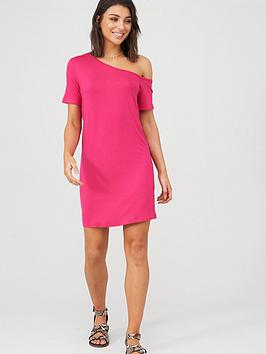 v-by-very-off-the-shoulder-beach-tunic-pink