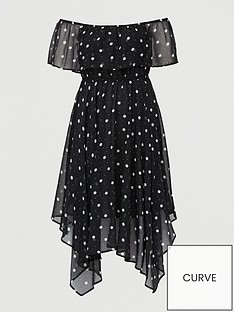 v-by-very-curve-chiffon-bardot-midi-dress-spot-print