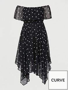 v-by-very-curve-chiffon-bardot-midi-dress-spot-print