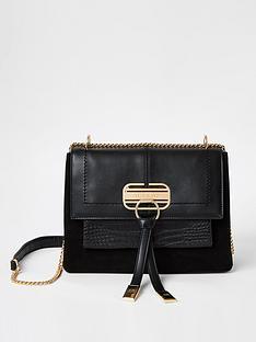 river-island-lock-front-cross-body-bag-black