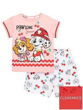 paw-patrol-girlsnbspcherry-brave-pups-t-shirt-and-short-pjs-multi