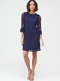 v-by-very-lace-frill-sleeve-dress-blue