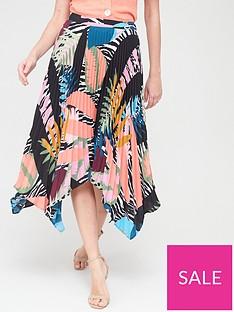 v-by-very-asymmetricnbsppleated-skirt-leaf-printnbsp