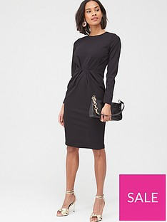 v-by-very-pleat-front-tunic-dress-black