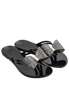 zaxy-sunrise-bow-detail-flip-flop-black