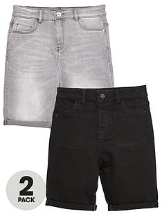 v-by-very-boys-2-pack-regular-fit-denim-shorts-black-grey