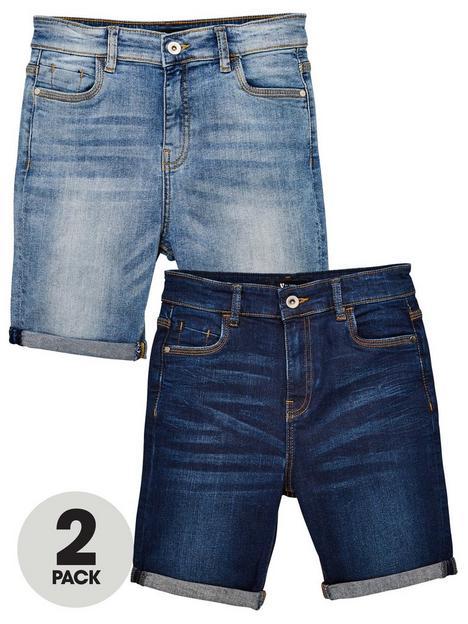 v-by-very-boys-2-pack-skinny-fit-denim-shorts-dark-washlight