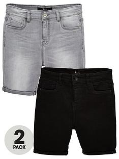v-by-very-boys-2-pack-skinny-fit-denim-shorts-dark-washlight-grey