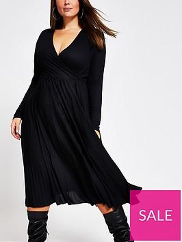 ri-plus-ri-plus-black-wrap-pleated-midi-dress-black