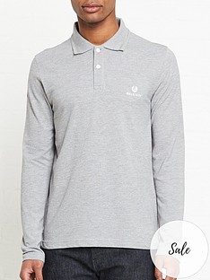 belstaff-logo-embroidered-long-sleeve-polo-shirt-grey