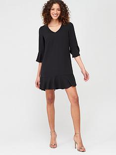 v-by-very-frill-sleeve-smock-dress-black