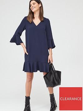 v-by-very-frill-sleeve-smock-dress-navy