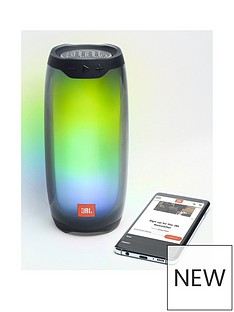 JBL Pulse 4 Wireless Bluetooth Waterproof Speaker with 360° Sound and LED Lightshow - Black