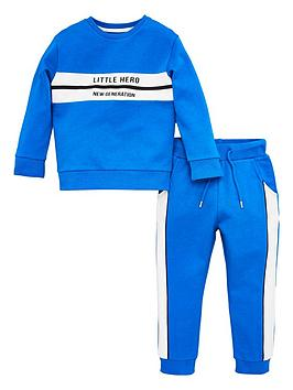 v by very boys little hero colour block tracksuit - blue