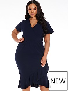 quiz-curve-navy-wrap-frill-dress