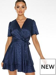 quiz-jacquard-short-sleeve-wrap-dress-navy