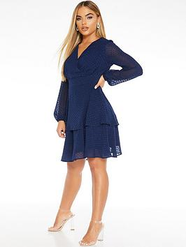 quiz-dobby-mesh-long-sleeve-wrap-double-layer-dress-navy