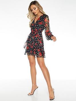 quiz-chiffon-polka-dot-wrap-front-balloon-sleeve-dress-blackred
