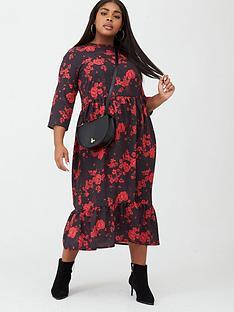 boohoo-plus-boohoo-plus-floral-rose-ruffle-hem-midi-dress