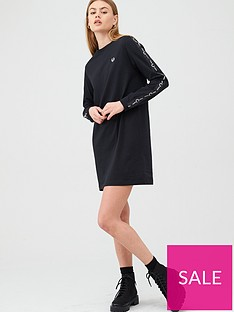 fred-perry-long-sleeve-taped-dress-black