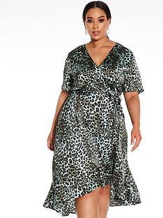 quiz-curve-satin-leopard-print-dip-hem-dress-multi