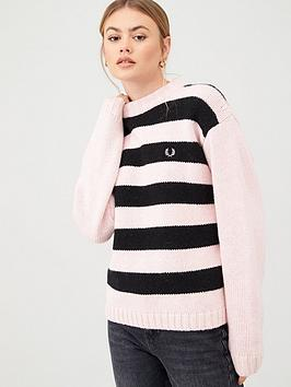 fred-perry-striped-lambswool-jumper-pink