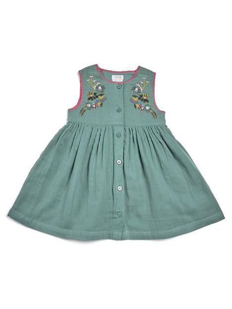 mamas-papas-baby-girls-cheesecloth-dress-green