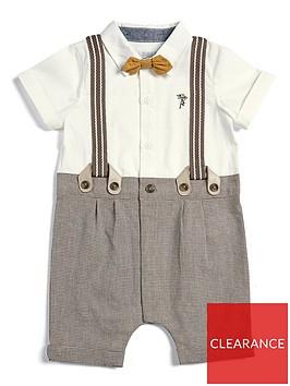 mamas-papas-baby-boys-check-mock-romper-beige