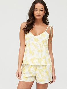 v-by-very-woven-babydoll-cami-amp-short-pyjamasnbsp--yellow-palm
