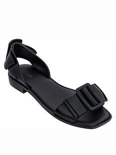 melissa-aurora-large-buckle-flat-sandals-black