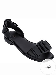 melissa-aurora-large-buckle-flat-sandals-black