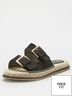 v-by-very-hone-wide-fit-buckle-espadrille-slider-black