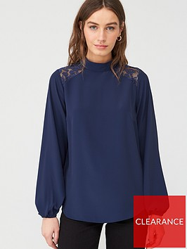 v-by-very-lace-yolk-shoulder-high-neck-long-sleeve-shell-top-navy
