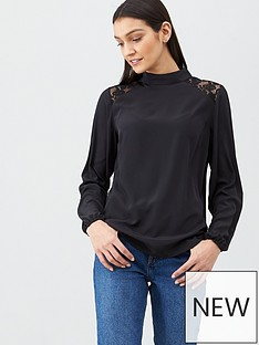 v-by-very-lace-yolk-shoulder-high-neck-long-sleeve-shell-top-black
