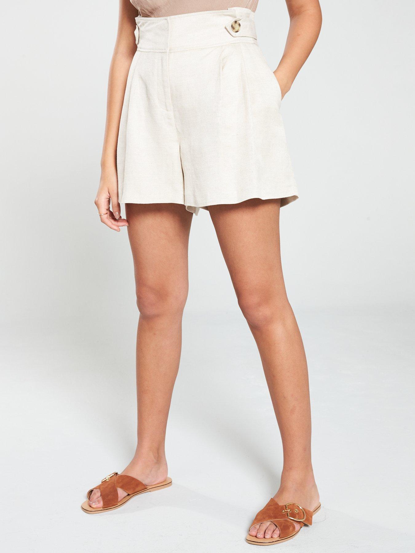 Ladies Linen Blend lightweight Elasticated Waist Summer Shorts Size 10 to 18