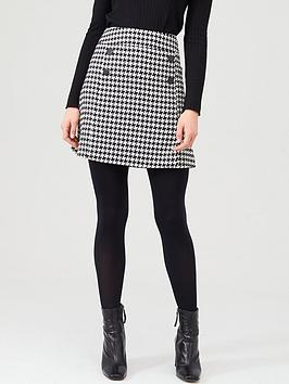 v-by-very-dogtooth-button-mini-skirt-mono