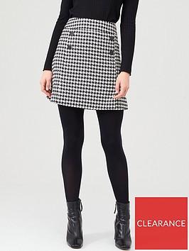 v-by-very-dogtooth-button-mini-skirt-mono