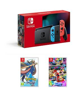 nintendo-switch-nintendo-switch-neon-console-improved-battery-with-pokemon-sword-and-mario-kart-8-deluxe