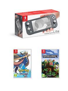 nintendo-switch-nintendo-switch-lite-grey-console-with-pokemon-sword-minecraft