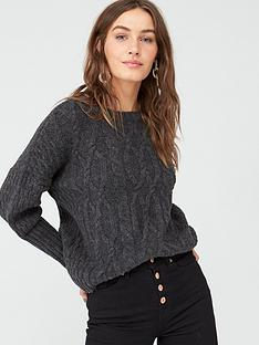 v-by-very-cable-design-jumper-charcoal