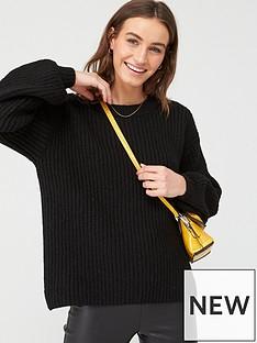 v-by-very-rib-balloon-sleeve-slashed-neck-jumper-black