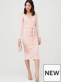 v-by-very-wrap-tie-midi-dress-dusty-pink
