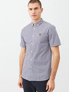 lyle-scott-short-sleeved-gingham-shirt-navywhite