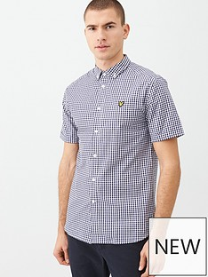 lyle-scott-short-sleeved-gingham-shirt-navywhite